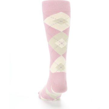 Image of Dusty Rose Champagne Argyle Wedding Groomsmen Men's Dress Socks (back-17)