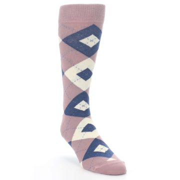 Image of Desert Rose Navy Argyle Wedding Groomsmen Men's Dress Socks (side-1-front-02)