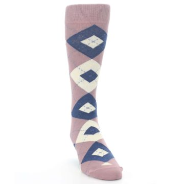 Image of Desert Rose Navy Argyle Wedding Groomsmen Men's Dress Socks (side-1-front-03)