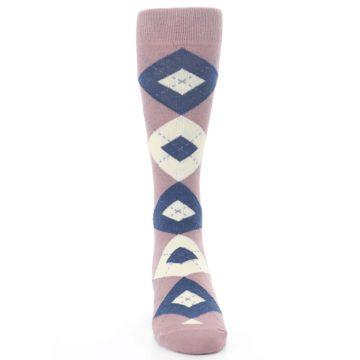 Image of Desert Rose Navy Argyle Wedding Groomsmen Men's Dress Socks (front-04)