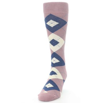 Image of Desert Rose Navy Argyle Wedding Groomsmen Men's Dress Socks (side-2-front-06)