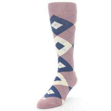 Image of Desert Rose Navy Argyle Wedding Groomsmen Men's Dress Socks (side-2-front-07)