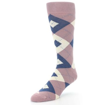 Image of Desert Rose Navy Argyle Wedding Groomsmen Men's Dress Socks (side-2-front-08)