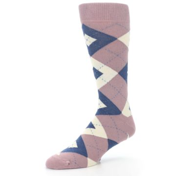 Image of Desert Rose Navy Argyle Wedding Groomsmen Men's Dress Socks (side-2-09)