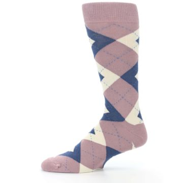 Image of Desert Rose Navy Argyle Wedding Groomsmen Men's Dress Socks (side-2-11)