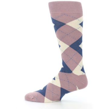 Image of Desert Rose Navy Argyle Wedding Groomsmen Men's Dress Socks (side-2-12)