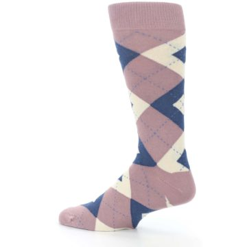 Image of Desert Rose Navy Argyle Wedding Groomsmen Men's Dress Socks (side-2-13)