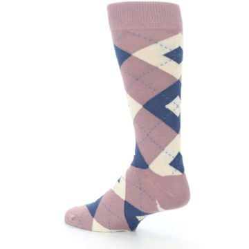 Image of Desert Rose Navy Argyle Wedding Groomsmen Men's Dress Socks (side-2-back-14)