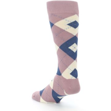 Image of Desert Rose Navy Argyle Wedding Groomsmen Men's Dress Socks (side-2-back-15)