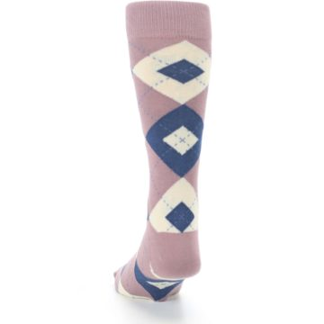 Image of Desert Rose Navy Argyle Wedding Groomsmen Men's Dress Socks (back-17)