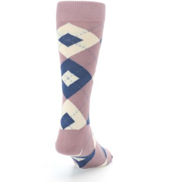 Image of Desert Rose Navy Argyle Wedding Groomsmen Men's Dress Socks (side-1-back-20)