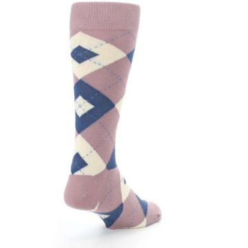 Image of Desert Rose Navy Argyle Wedding Groomsmen Men's Dress Socks (side-1-back-21)
