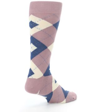 Image of Desert Rose Navy Argyle Wedding Groomsmen Men's Dress Socks (side-1-back-22)