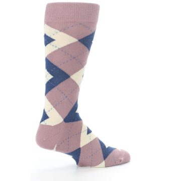 Image of Desert Rose Navy Argyle Wedding Groomsmen Men's Dress Socks (side-1-23)