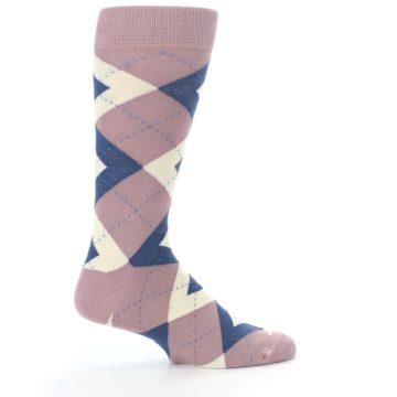 Image of Desert Rose Navy Argyle Wedding Groomsmen Men's Dress Socks (side-1-24)