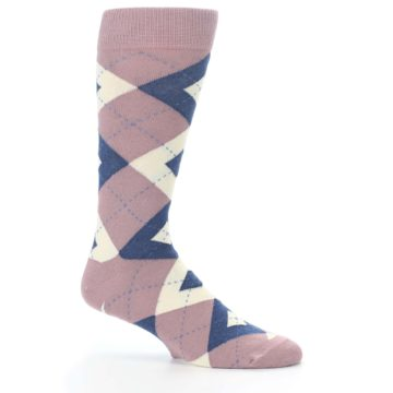 Image of Desert Rose Navy Argyle Wedding Groomsmen Men's Dress Socks (side-1-25)