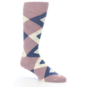 Image of Desert Rose Navy Argyle Wedding Groomsmen Men's Dress Socks (side-1-26)