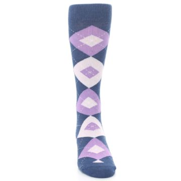 Image of Bouquet Navy Argyle Men's Dress Socks (front-04)