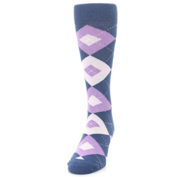 Image of Bouquet Navy Argyle Men's Dress Socks (side-2-front-06)