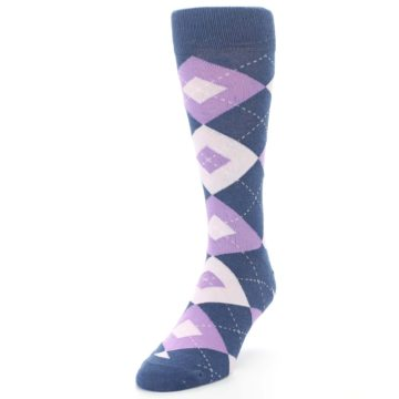 Image of Bouquet Navy Argyle Men's Dress Socks (side-2-front-07)