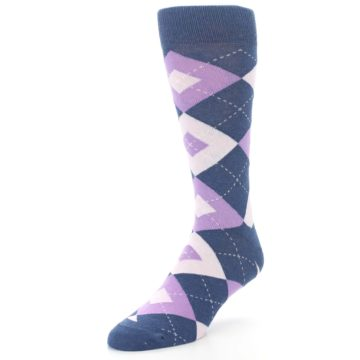 Image of Bouquet Navy Argyle Men's Dress Socks (side-2-front-08)