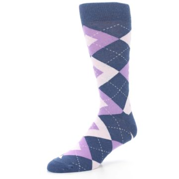Image of Bouquet Navy Argyle Men's Dress Socks (side-2-09)