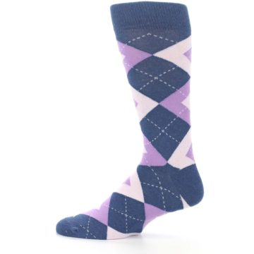 Image of Bouquet Navy Argyle Men's Dress Socks (side-2-12)
