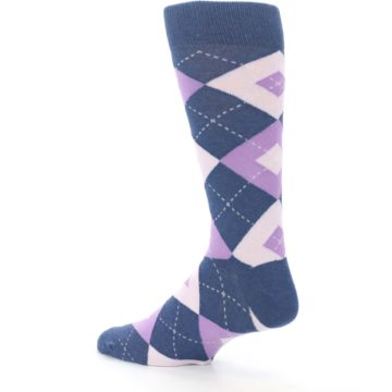 Image of Bouquet Navy Argyle Men's Dress Socks (side-2-back-14)