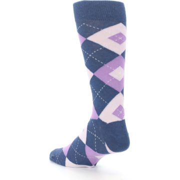 Image of Bouquet Navy Argyle Men's Dress Socks (side-2-back-15)