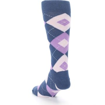 Image of Bouquet Navy Argyle Men's Dress Socks (side-2-back-16)