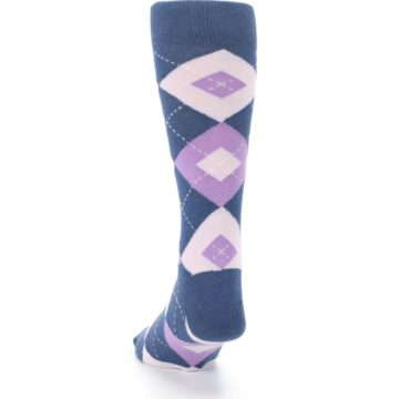 Image of Bouquet Navy Argyle Men's Dress Socks (back-17)