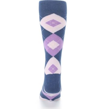 Image of Bouquet Navy Argyle Men's Dress Socks (back-18)