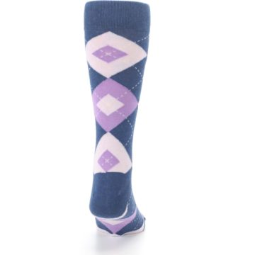 Image of Bouquet Navy Argyle Men's Dress Socks (back-19)