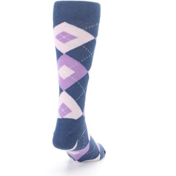 Image of Bouquet Navy Argyle Men's Dress Socks (side-1-back-20)