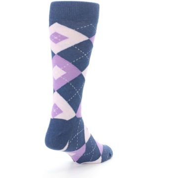 Image of Bouquet Navy Argyle Men's Dress Socks (side-1-back-21)
