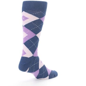 Image of Bouquet Navy Argyle Men's Dress Socks (side-1-back-22)