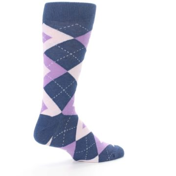 Image of Bouquet Navy Argyle Men's Dress Socks (side-1-23)