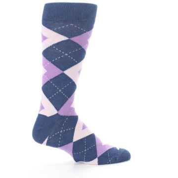 Image of Bouquet Navy Argyle Men's Dress Socks (side-1-24)