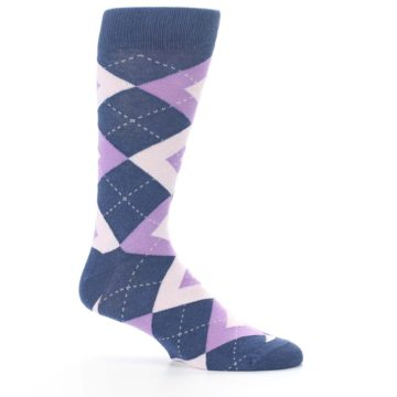 Image of Bouquet Navy Argyle Men's Dress Socks (side-1-25)
