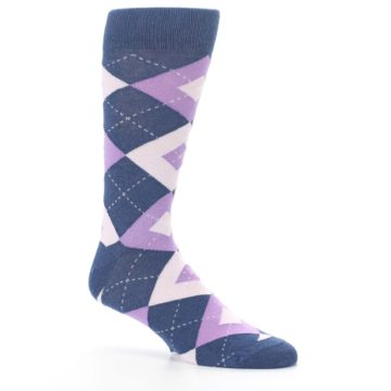 Image of Bouquet Navy Argyle Men's Dress Socks (side-1-26)