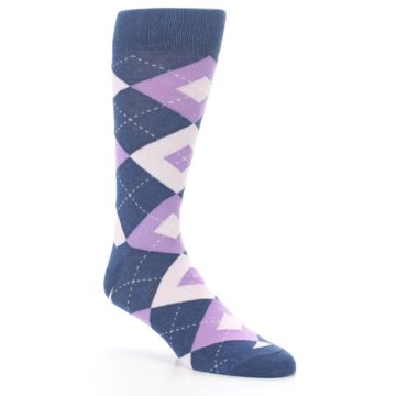 Image of Bouquet Navy Argyle Men's Dress Socks (side-1-27)