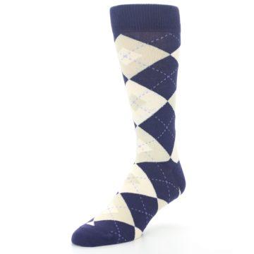 Image of Lapis Purple Champagne Argyle Men's Dress Socks (side-2-front-08)
