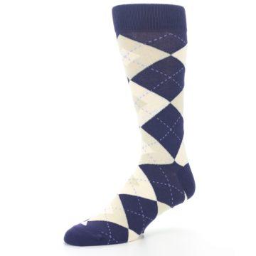 Image of Lapis Purple Champagne Argyle Men's Dress Socks (side-2-09)