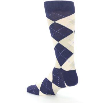 Image of Lapis Purple Champagne Argyle Men's Dress Socks (side-2-back-14)