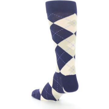 Image of Lapis Purple Champagne Argyle Men's Dress Socks (side-2-back-15)