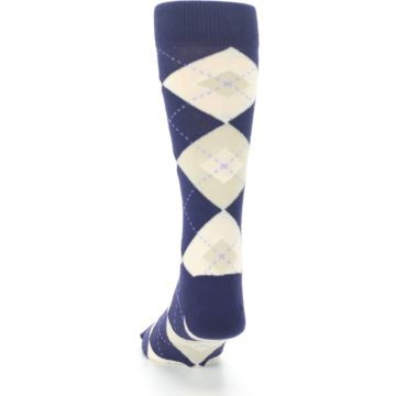 Image of Lapis Purple Champagne Argyle Men's Dress Socks (back-17)