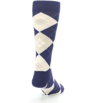 Image of Lapis Purple Champagne Argyle Men's Dress Socks (side-1-back-20)