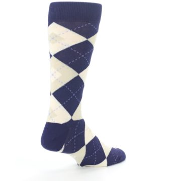 Image of Lapis Purple Champagne Argyle Men's Dress Socks (side-1-back-22)