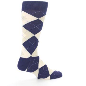 Image of Lapis Purple Champagne Argyle Men's Dress Socks (side-1-23)