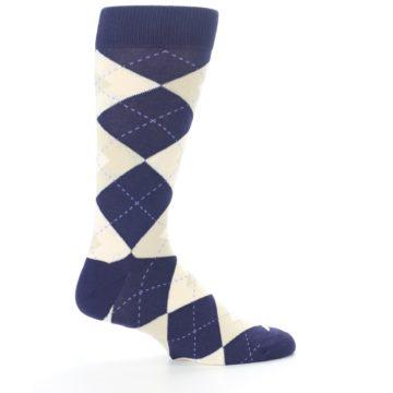Image of Lapis Purple Champagne Argyle Men's Dress Socks (side-1-24)